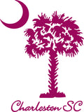 "CHARLESTON UNDER SOUTH CAROLINA PALMETTO MOON  6"" TALL DECAL BY EYECANDY DECALS"