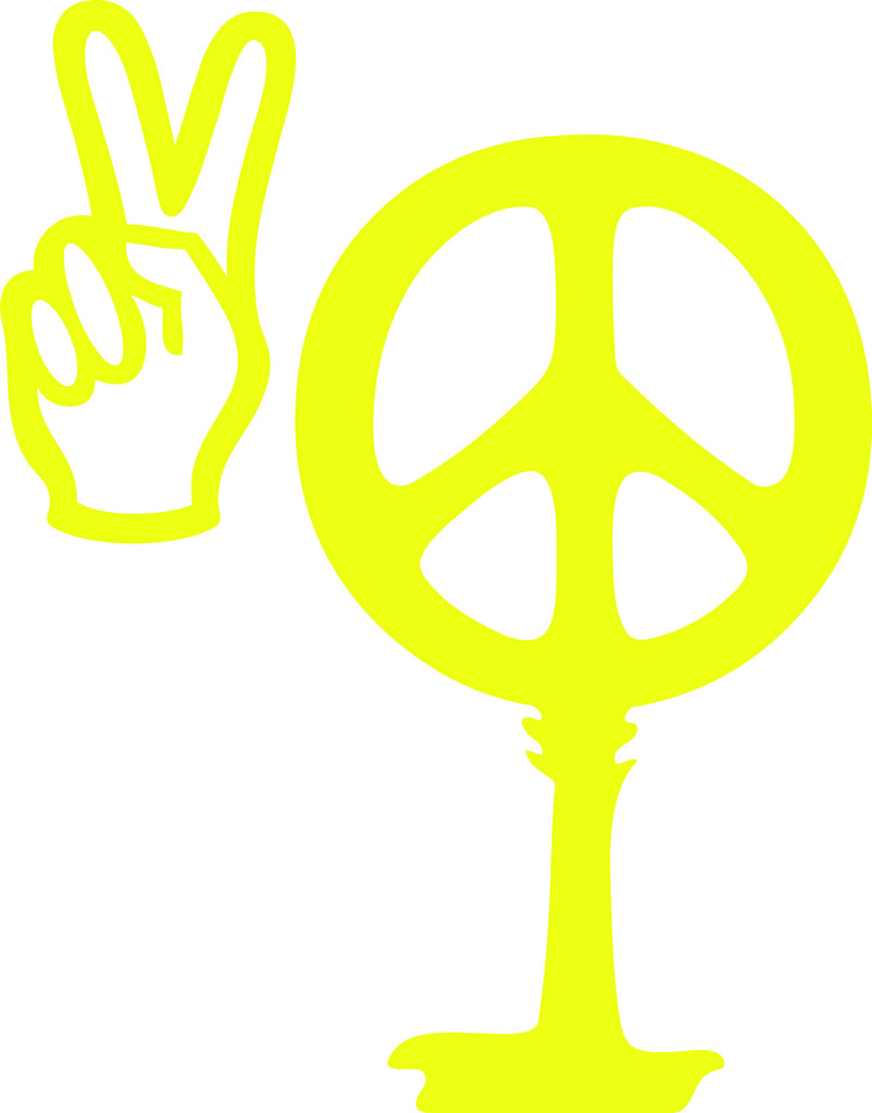 "PEACE SIGN AND PEACE HAND AS SOUTH CAROLINA PALMETTO MOON  6"" TALL DECAL BY EYECANDY DECALS"