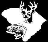 "SOUTH CAROLINA STATE OUTLINE WITH DEER AND BASS  5"" WIDE DECAL BY EYECANDY DECALS"