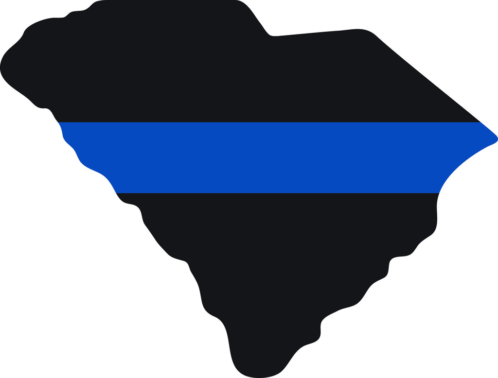 "SOUTH CAROLINA STATE OUTLINE BLACK WITH BLUE STRIPE FOR POLICE  6"" WIDE DECAL BY EYECANDY DECALS"