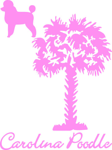 "CAROLINA POODLE WITH SOUTH CAROLINA PALMETTO MOON  6"" TALL DECAL BY EYECANDY DECALS"