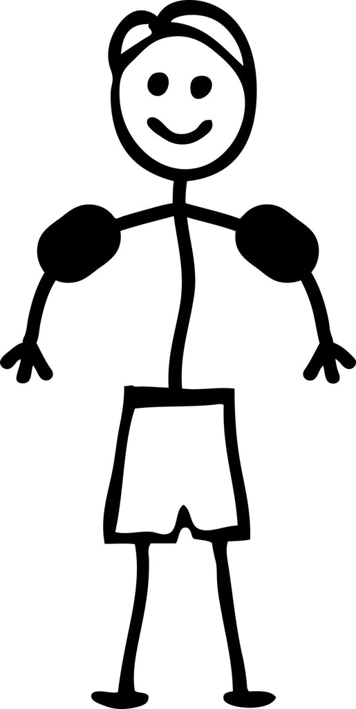 "STICK FAMILY BOY TODDLER WITH SWIMMIES   4"" TALL DECAL WHITE          -          manufactured & sold by EYECANDY DECALS"
