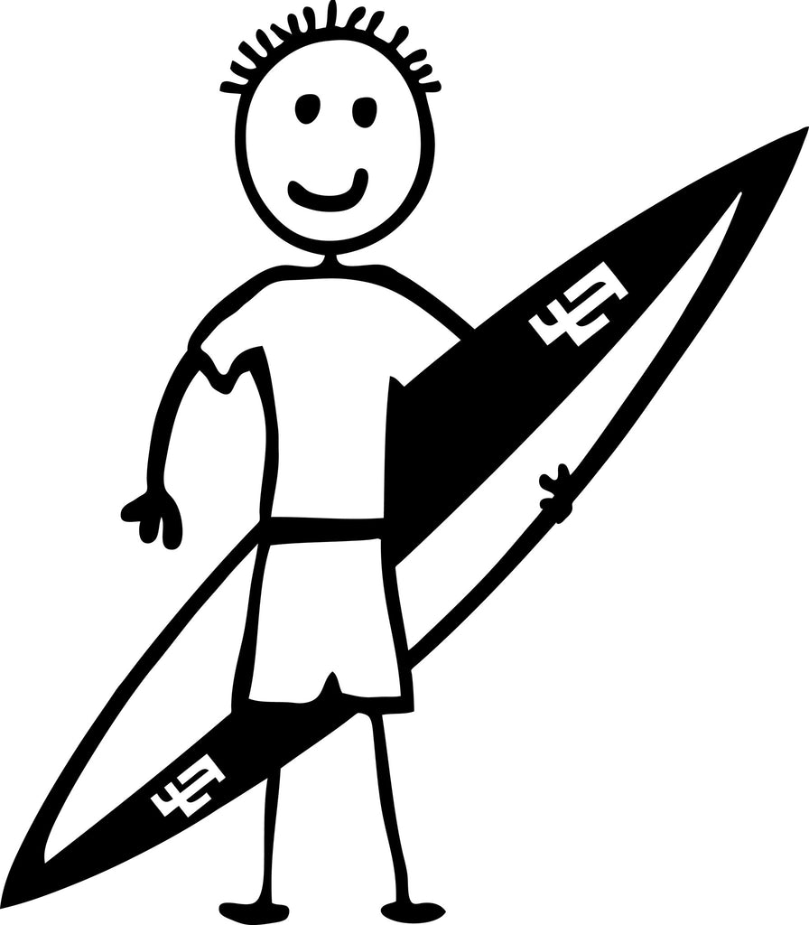 "STICK FAMILY BOY SURFER   4"" TALL DECAL WHITE          -          manufactured & sold by EYECANDY DECALS"