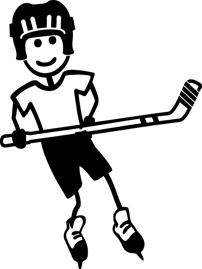"STICK FAMILY BOY PLAYING HOCKEY   4"" TALL DECAL WHITE          -          manufactured & sold by EYECANDY DECALS"