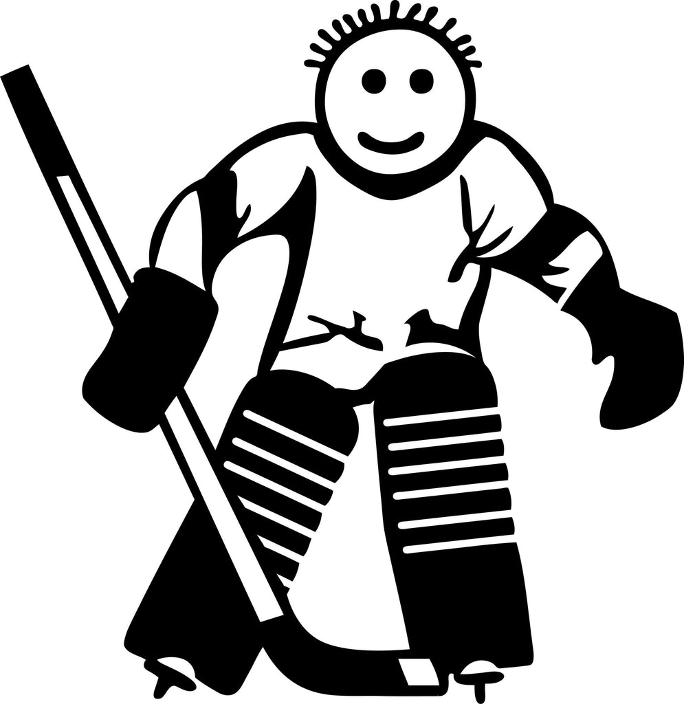 "STICK FAMILY BOY HOCKEY GOALIE   4"" TALL DECAL WHITE          -          manufactured & sold by EYECANDY DECALS"