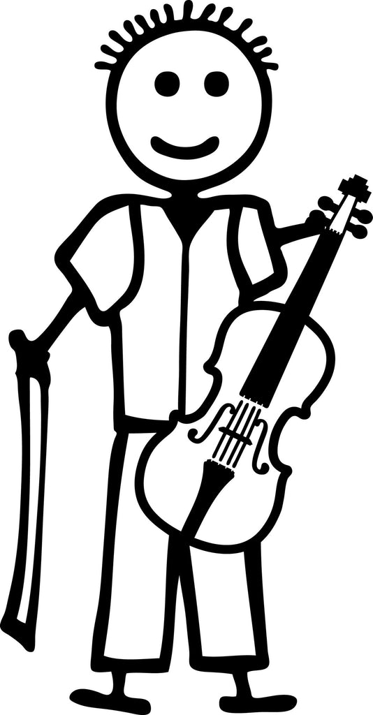 "STICK FAMILY BOY PLAYING VIOLIN   4"" TALL DECAL WHITE          -          manufactured & sold by EYECANDY DECALS"