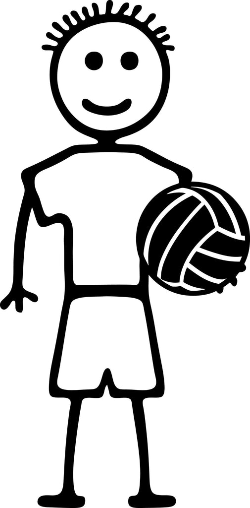 "STICK FAMILY BOY HOLDING VOLLEYBALL   4"" TALL DECAL WHITE          -          manufactured & sold by EYECANDY DECALS"