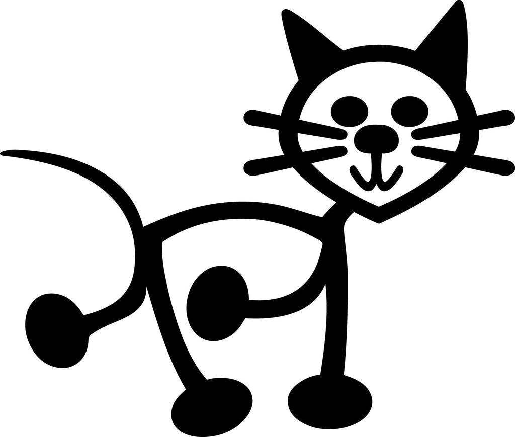 "STICK FAMILY CAT ORIGINAL   2.5"" TALL DECAL 2 PACK WHITE          -          manufactured & sold by EYECANDY DECALS"