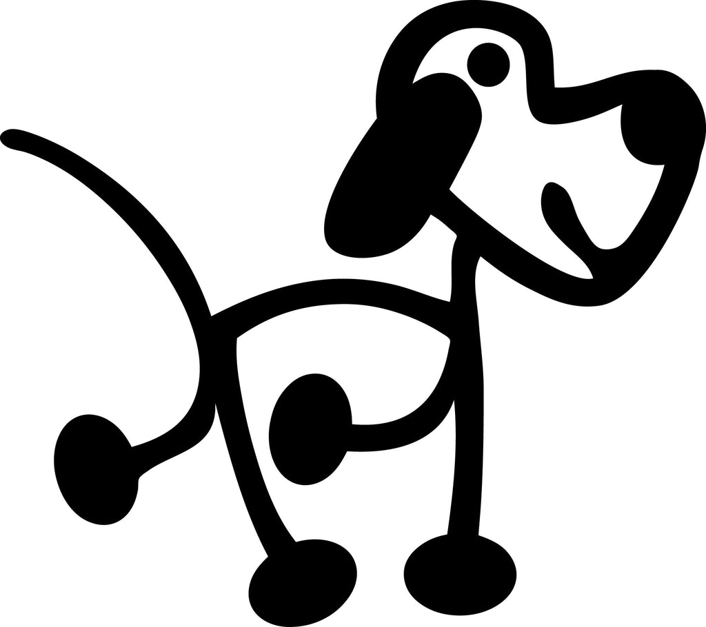 "STICK FAMILY DOG ORIGINAL   2.5"" TALL DECAL 2 PACK WHITE          -          manufactured & sold by EYECANDY DECALS"