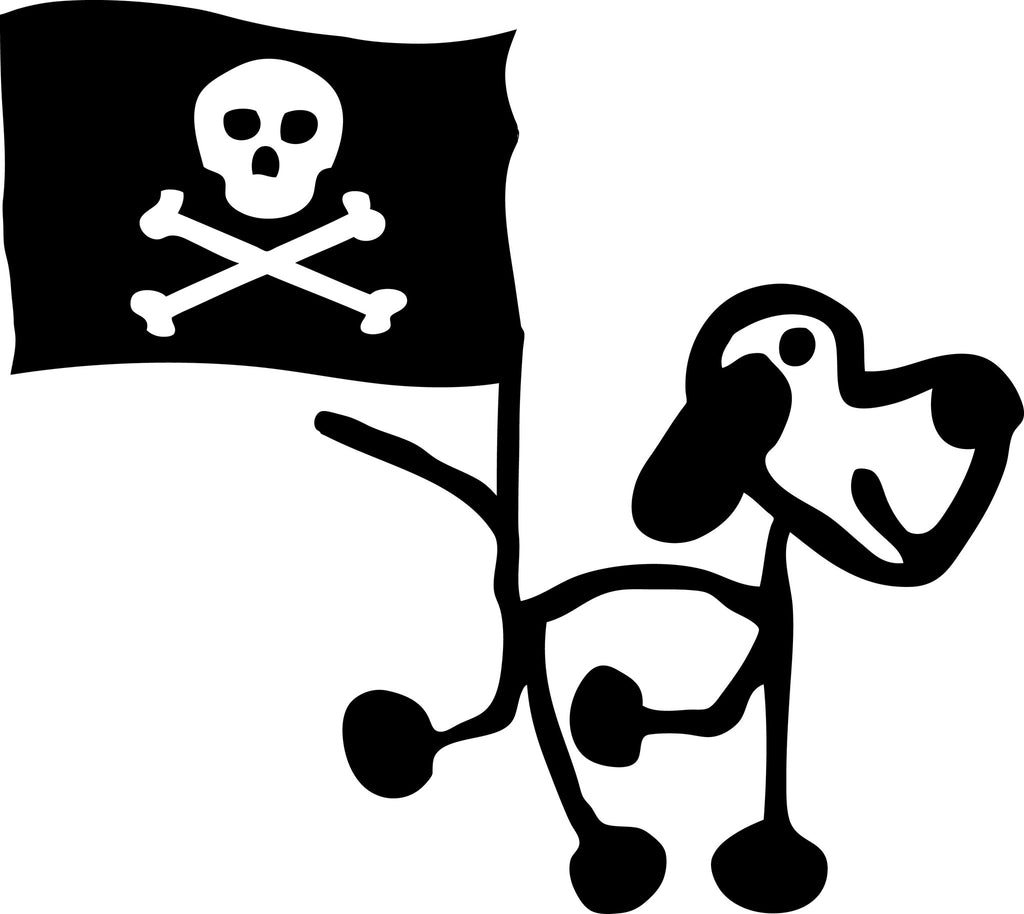 "STICK FAMILY DOG PIRATE WITH FLAG   2.5"" TALL DECAL WHITE          -          manufactured & sold by EYECANDY DECALS"
