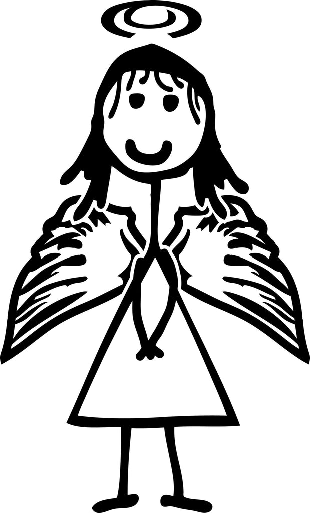 "STICK FAMILY GIRL ANGEL   4"" TALL DECAL WHITE          -          manufactured & sold by EYECANDY DECALS"