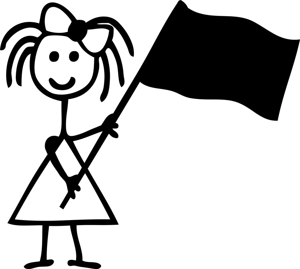 "STICK FAMILY GIRL WAVING FLAG   4"" TALL DECAL WHITE          -          manufactured & sold by EYECANDY DECALS"