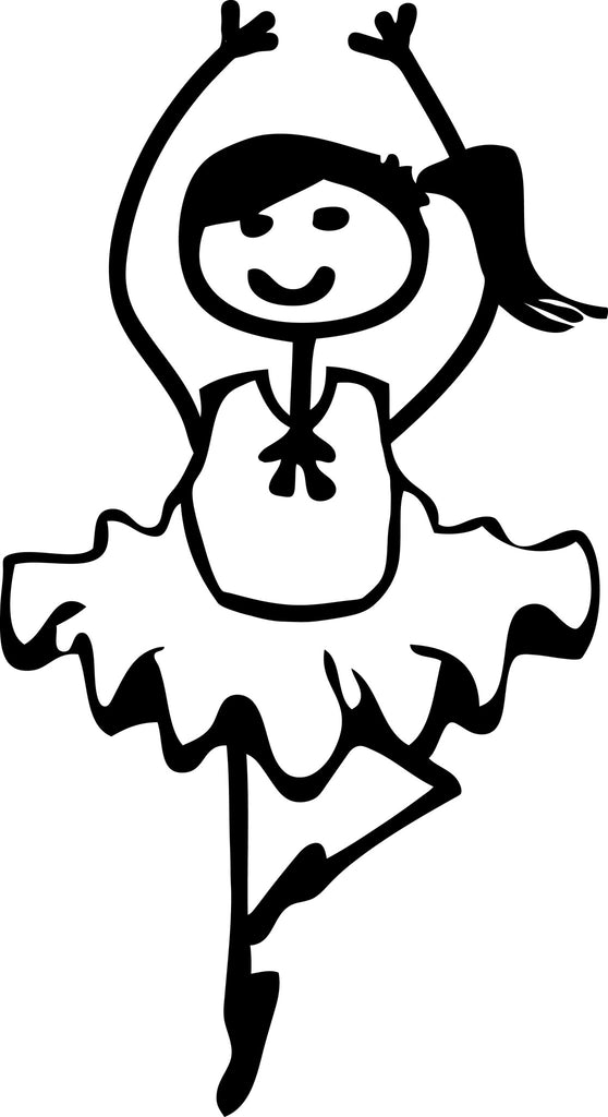 "STICK FAMILY GIRL BALLERINA   4"" TALL DECAL WHITE          -          manufactured & sold by EYECANDY DECALS"