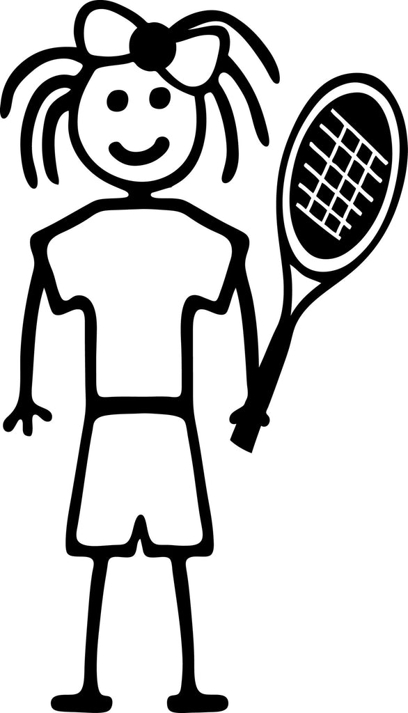 "STICK FAMILY GIRL TENNIS PLAYER   4"" TALL DECAL WHITE          -          manufactured & sold by EYECANDY DECALS"