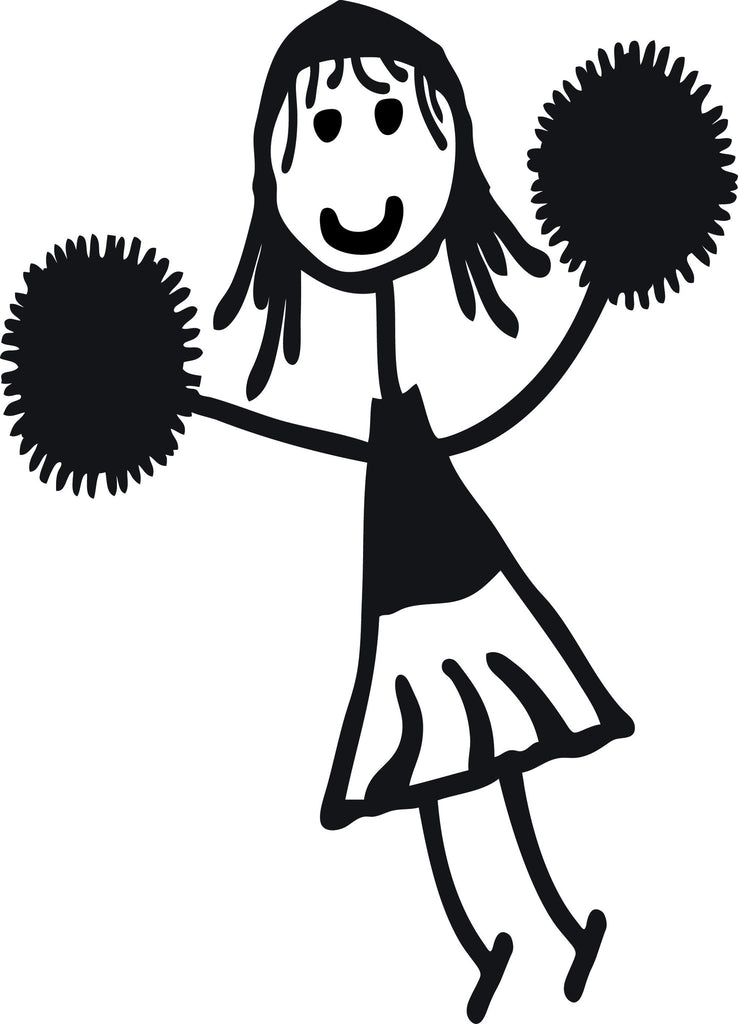 "STICK FAMILY GIRL CHEERLEADER   4"" TALL DECAL WHITE          -          manufactured & sold by EYECANDY DECALS"