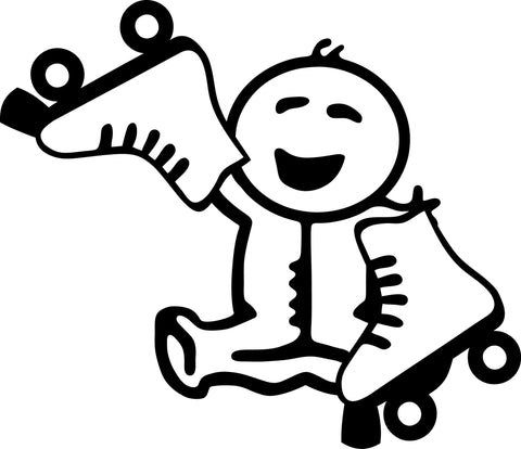 "STICK FAMILY BABY HOLDING ROLLER SKATES   2.5"" TALL DECAL WHITE          -          manufactured & sold by EYECANDY DECALS"