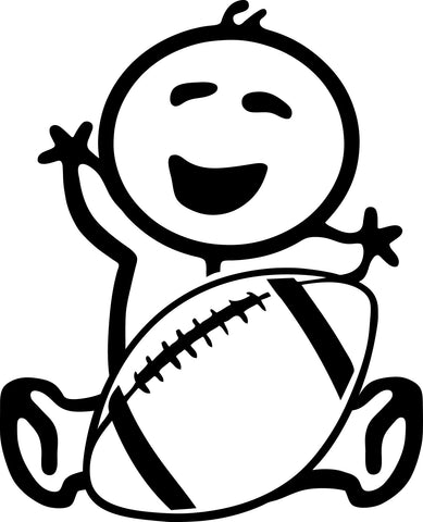 "STICK FAMILY BABY HOLDING FOOTBALL   2.5"" TALL DECAL WHITE          -          manufactured & sold by EYECANDY DECALS"