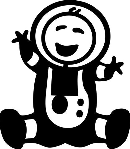 "STICK FAMILY BABY ASTRONAUT   2.5"" TALL DECAL WHITE          -          manufactured & sold by EYECANDY DECALS"