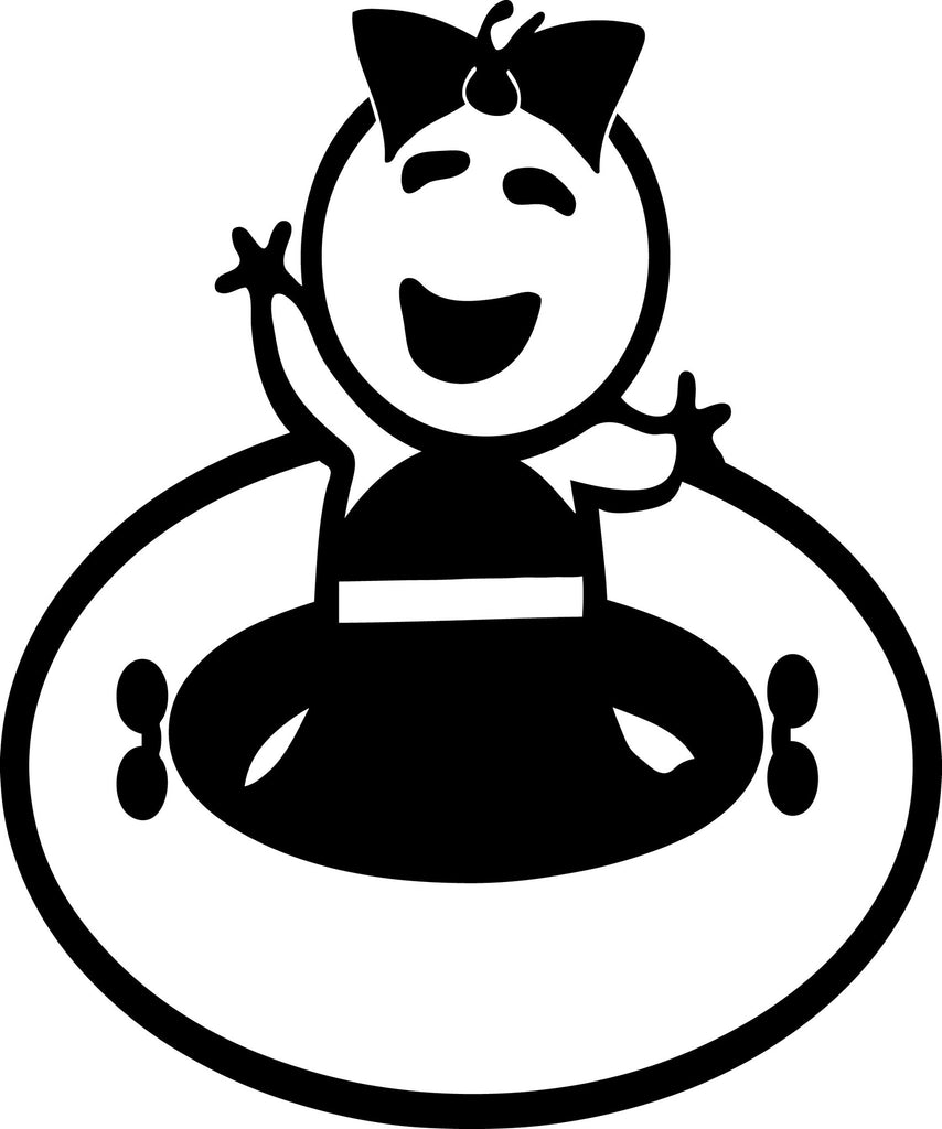 "STICK FAMILY BABY GIRL GOING TUBING   2.5"" TALL DECAL WHITE          -          manufactured & sold by EYECANDY DECALS"