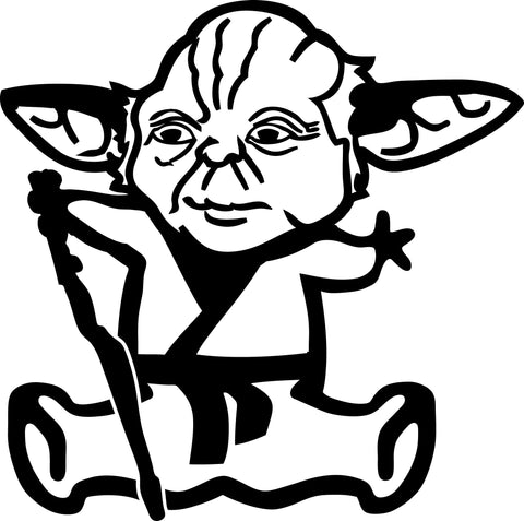 "STICK FAMILY BABY AS YODA STAR WARS   2.5"" TALL DECAL WHITE          -          manufactured & sold by EYECANDY DECALS"