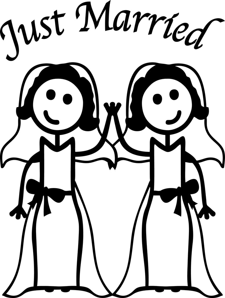 "GAY MARRIAGE JUST MARRIED WOMAN AND WOMAN STICK PEOPLE  6"" TALL DECAL WHITE          -          manufactured & sold by EYECANDY DECALS"