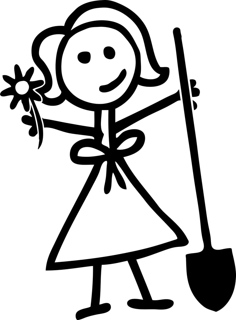 "STICK FAMILY LADY GARDENER   5"" TALL DECAL WHITE          -          manufactured & sold by EYECANDY DECALS"