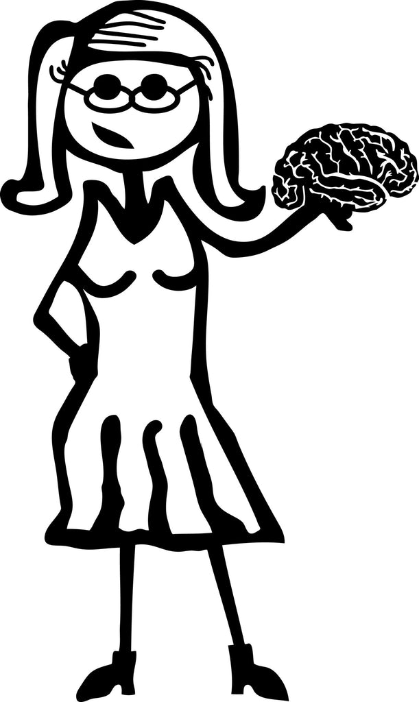 "STICK FAMILY LADY PSYCHOLOGIST   5"" TALL DECAL WHITE          -          manufactured & sold by EYECANDY DECALS"