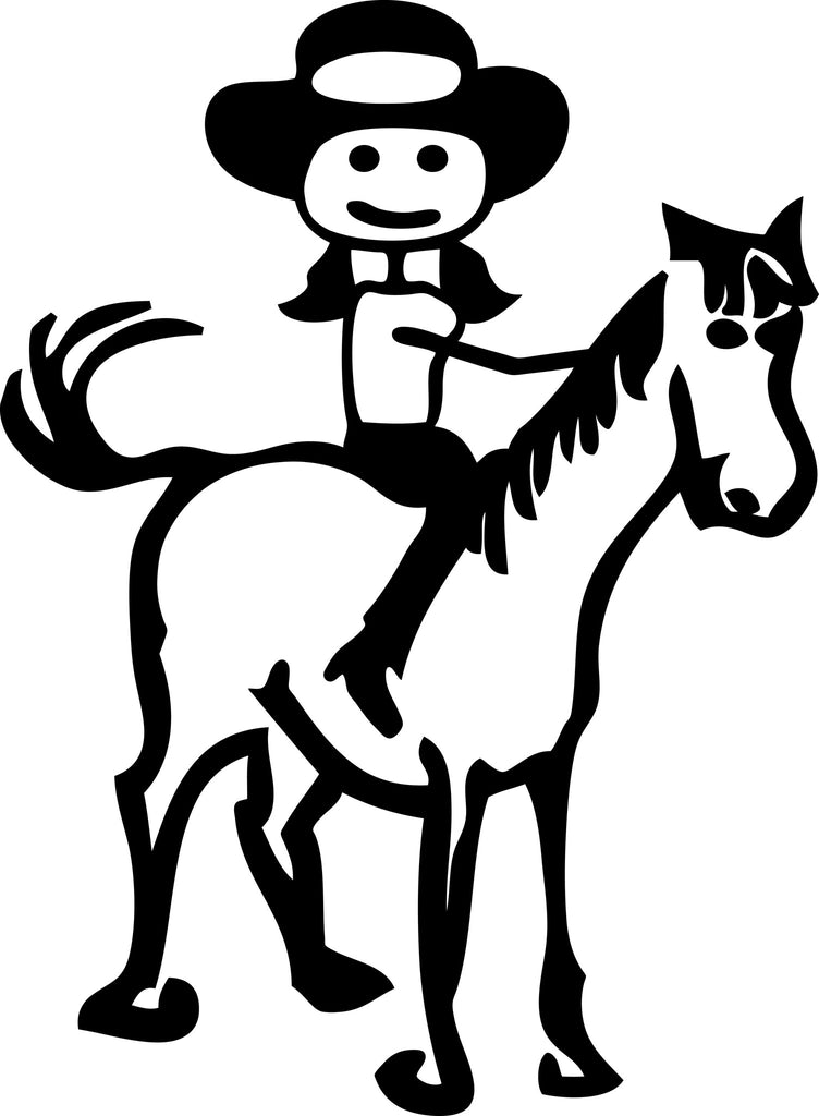 "STICK FAMILY LADY ON A HORSE   5"" TALL DECAL WHITE          -          manufactured & sold by EYECANDY DECALS"