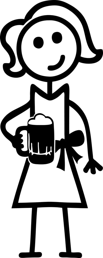 "STICK FAMILY LADY HOLDING BEER MUG   5"" TALL DECAL WHITE          -          manufactured & sold by EYECANDY DECALS"