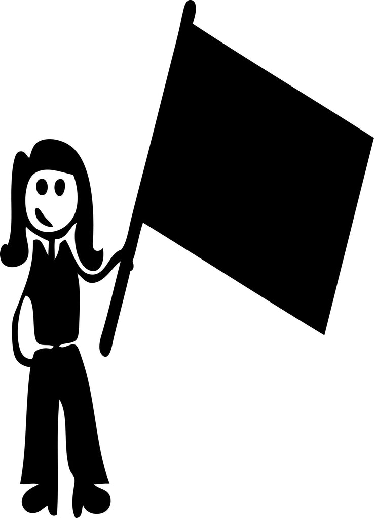 "STICK FAMILY LADY HOLDING FLAG   5"" TALL DECAL WHITE          -          manufactured & sold by EYECANDY DECALS"