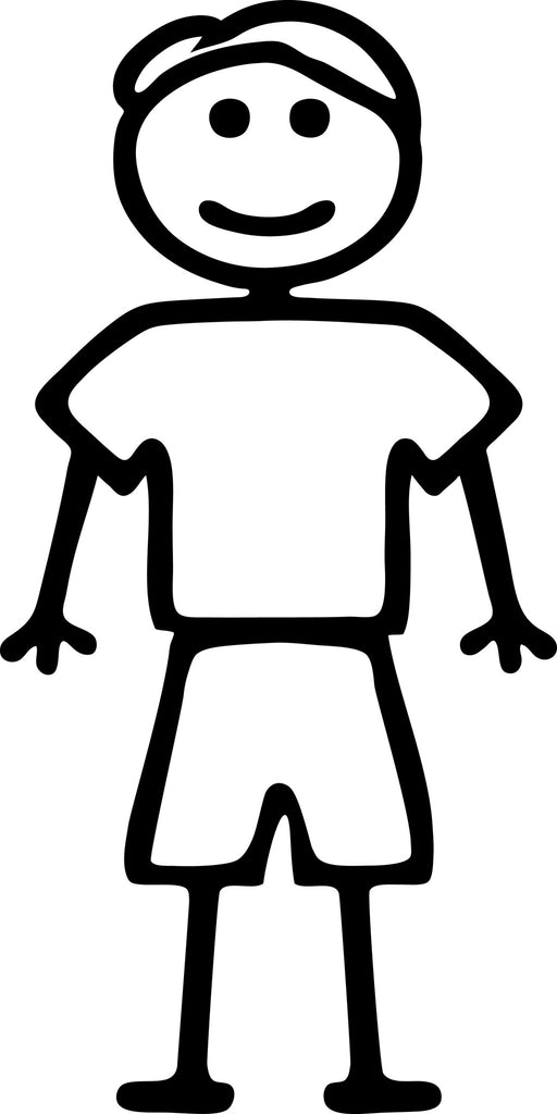 "STICK FAMILY MAN WEARING SHORTS   5"" TALL DECAL WHITE          -          manufactured & sold by EYECANDY DECALS"