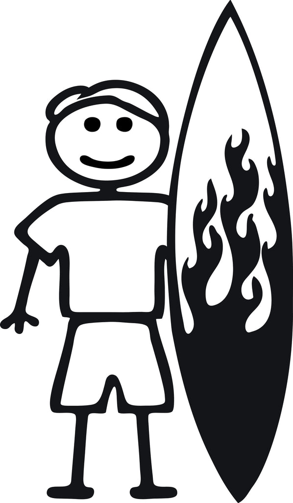 "STICK FAMILY MAN SURFER   5"" TALL DECAL WHITE          -          manufactured & sold by EYECANDY DECALS"