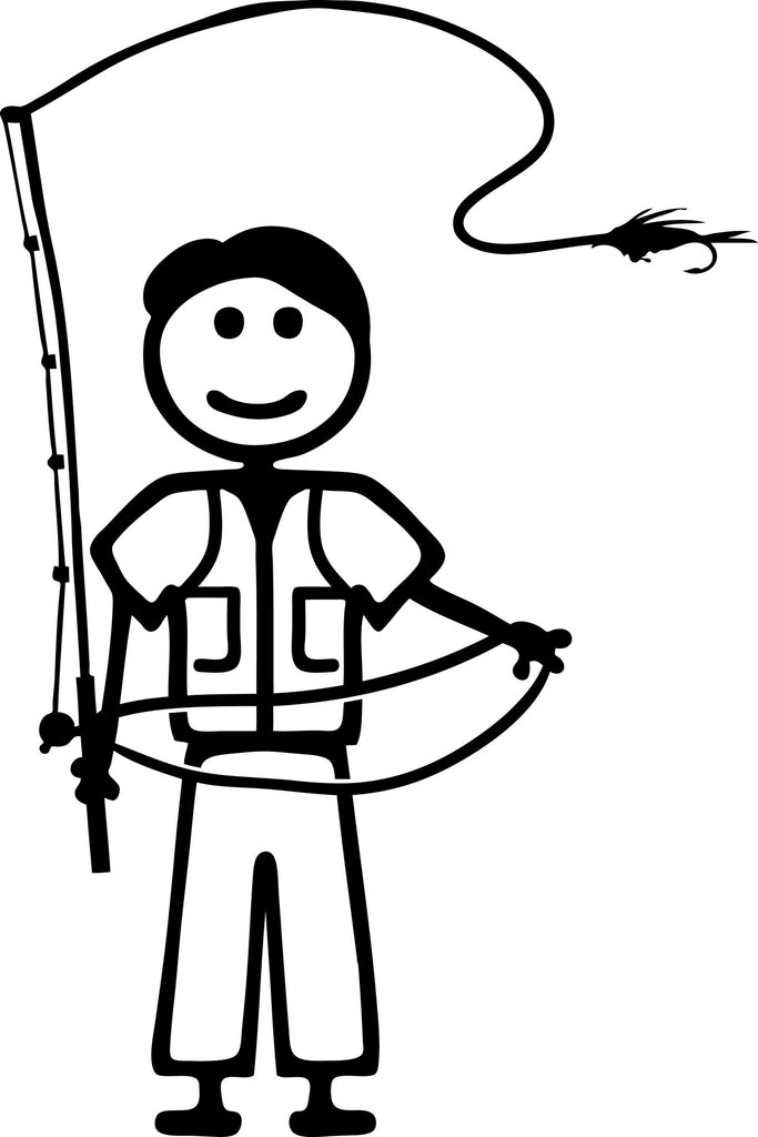 "STICK FAMILY MAN FLY FISHING   5"" TALL DECAL WHITE          -          manufactured & sold by EYECANDY DECALS"