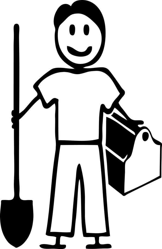 "STICK FAMILY MAN HANDY MAN   5"" TALL DECAL WHITE          -          manufactured & sold by EYECANDY DECALS"