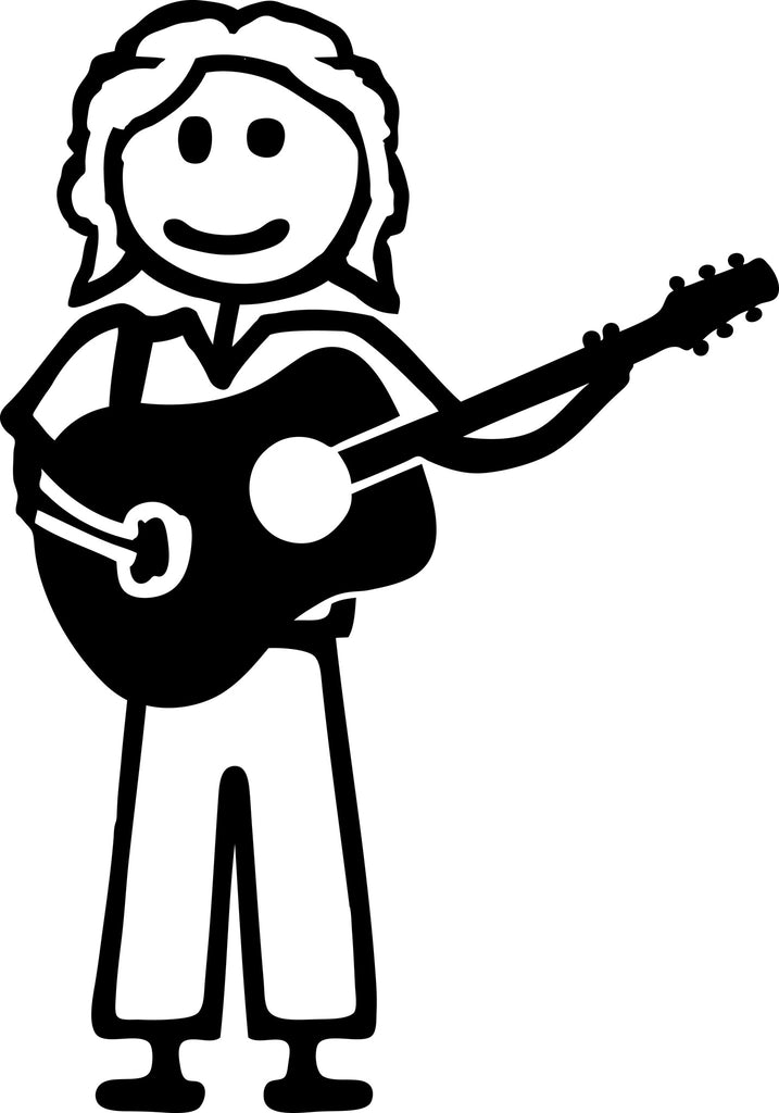 "STICK FAMILY MAN PLAYING GUITAR WITH LONGER HAIR   5"" TALL DECAL WHITE          -          manufactured & sold by EYECANDY DECALS"