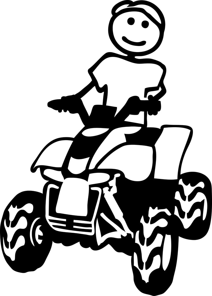 "STICK FAMILY MAN RIDING 4 WHEELER   5"" TALL DECAL WHITE          -          manufactured & sold by EYECANDY DECALS"