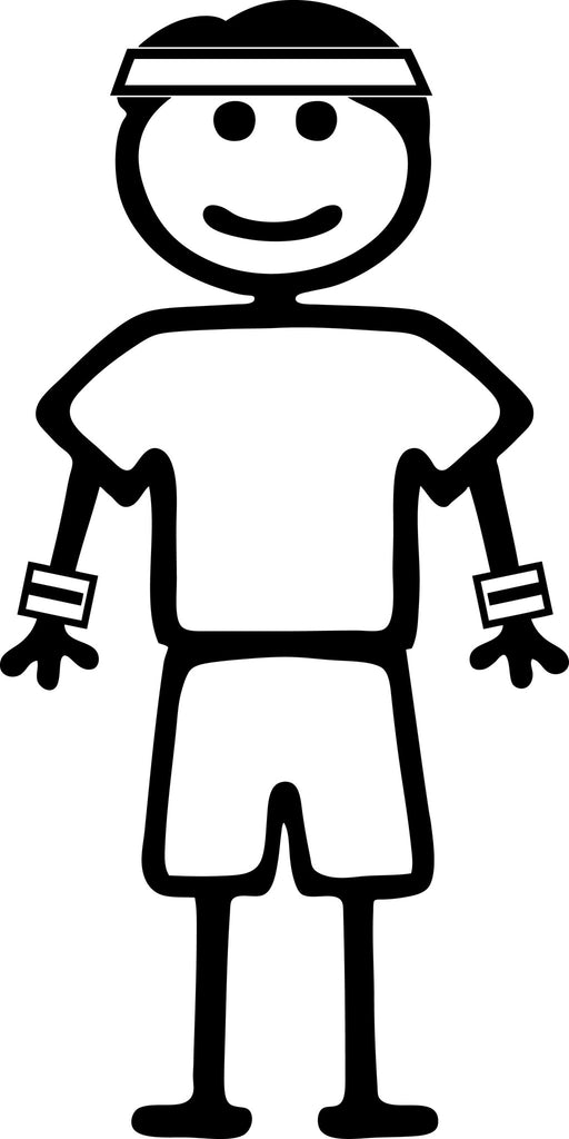 "STICK FAMILY MAN RUNNER   5"" TALL DECAL WHITE          -          manufactured & sold by EYECANDY DECALS"