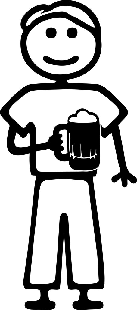"STICK FAMILY MAN HOLDING BEER MUG   5"" TALL DECAL WHITE          -          manufactured & sold by EYECANDY DECALS"