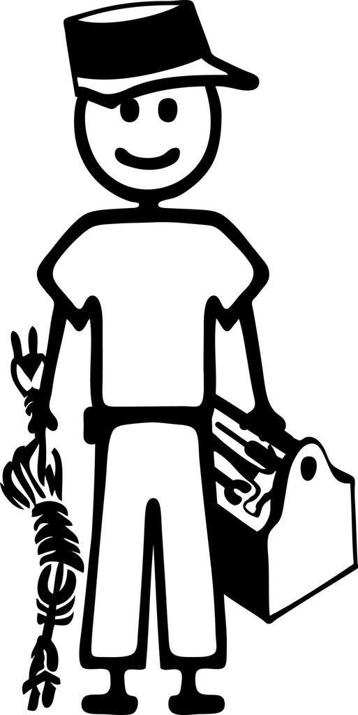 "STICK FAMILY MAN HANDYMAN   5"" TALL DECAL WHITE          -          manufactured & sold by EYECANDY DECALS"