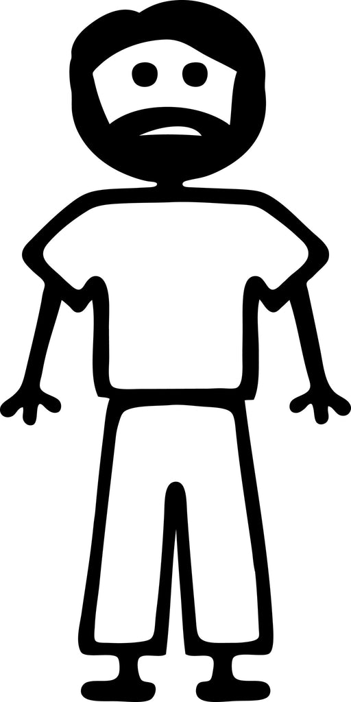"STICK FAMILY MAN WITH SHORT BEARD   5"" TALL DECAL WHITE          -          manufactured & sold by EYECANDY DECALS"
