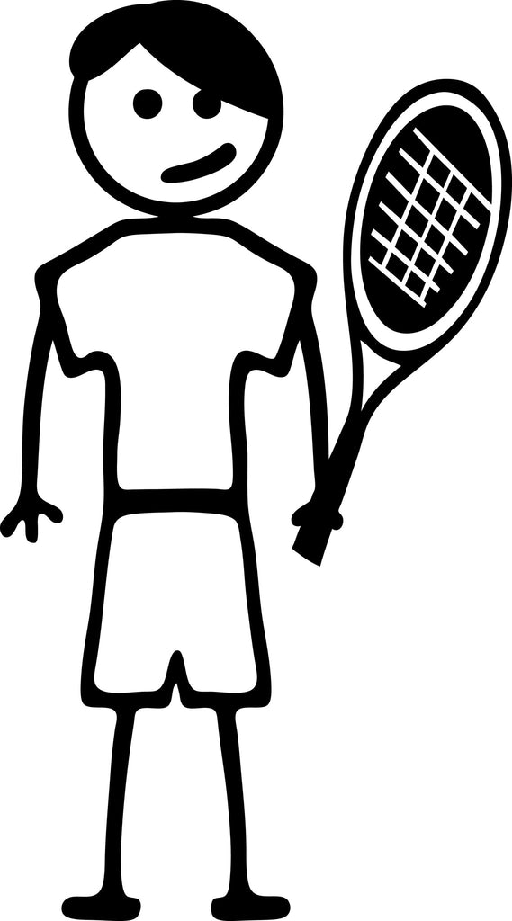 "STICK FAMILY TEEN BOY TENNIS PLAYER   4.5"" TALL DECAL WHITE          -          manufactured & sold by EYECANDY DECALS"