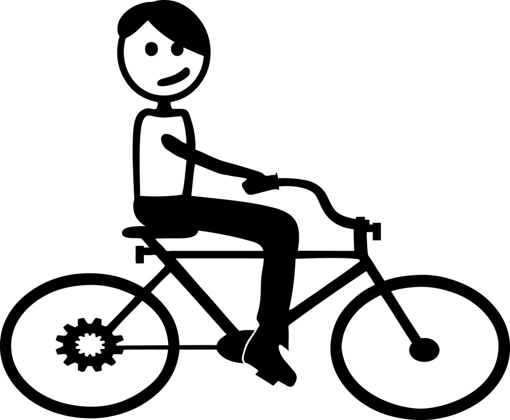 "STICK FAMILY TEEN BOY ON BIKE   4.5"" TALL DECAL WHITE          -          manufactured & sold by EYECANDY DECALS"