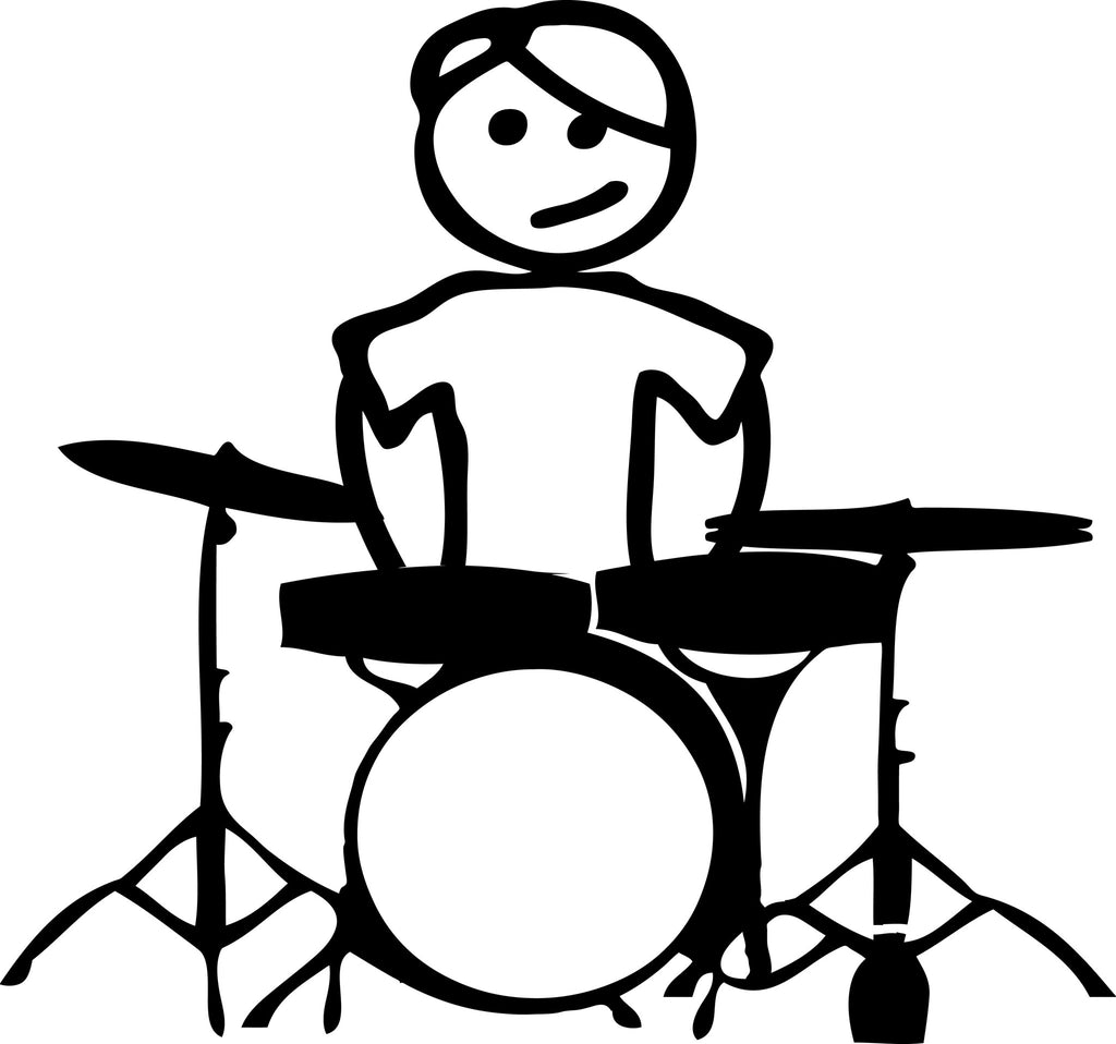 "STICK FAMILY TEEN BOY DRUMMER   4.5"" TALL DECAL WHITE          -          manufactured & sold by EYECANDY DECALS"