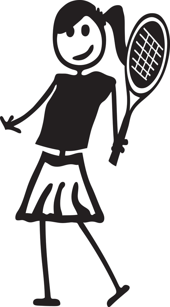 "STICK FAMILY TEEN GIRL TENNIS PLAYER   4.5"" TALL DECAL WHITE          -          manufactured & sold by EYECANDY DECALS"