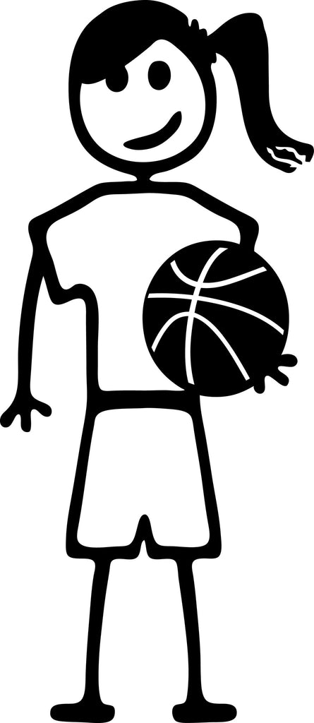 "STICK FAMILY TEEN GIRL HOLDING BASKETBALL   4.5"" TALL DECAL WHITE          -          manufactured & sold by EYECANDY DECALS"