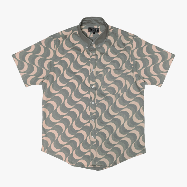'Waves' Button Down [Grey/Pink]
