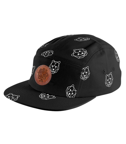 'Bear' Black 5 Panel Cap