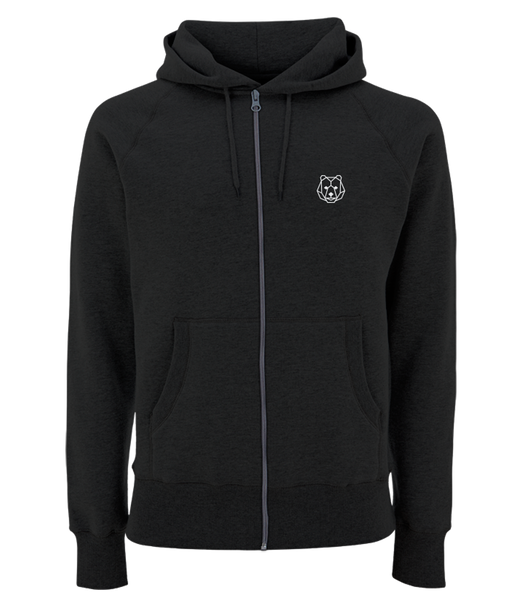 'Bear Repeat' Black Zipped Hoodie