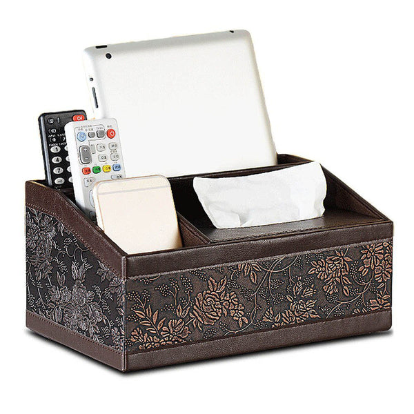 Multi-functional Luxurious Leather Office Supplies Organizer Tissue Box Holder for Stationery, Remote Control, iPad, Mobile Phone, Business Cards