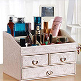 Arolly Fashion PU Leather Make Up Organizer Jewelry Cosmetic Desktop Storage Box Removable Collection Holder